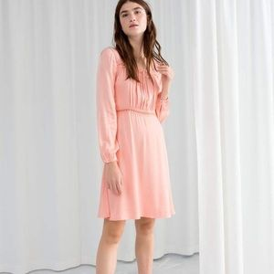 Other Stories lace trim satin dress coral 12